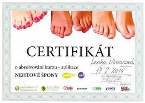 Lenka Ulmanová - certifikát nehtové špony