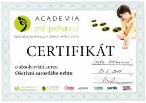 Pedikúra Kyjov - certifikát ošetření zarostlého nehtu