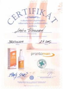 certifikát profesionální pedikúry Bratislava - Lenka Ulmanová